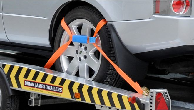 Tie-down Straps - Orange, set of 4 x Wheel 'Sling' straps, 4000 DaN/Kg