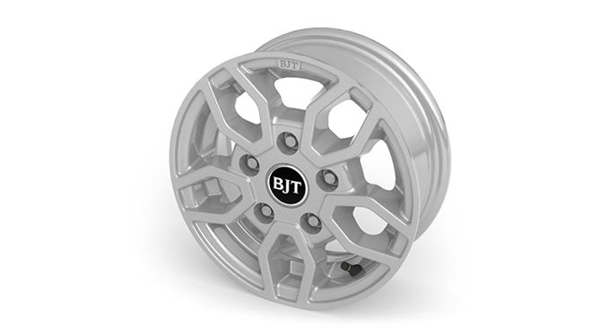 "Alloy wheels  – (12"" Style B2-Silver) + safety locking wheel bolts plus alloy spare wheel"
