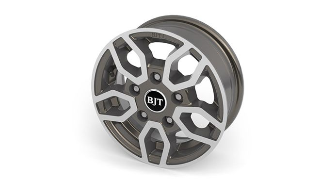 "Alloy wheels  – (12"" Style B2- Anthracite, diamond cut) + safety locking wheel bolts plus steel spare wheel"