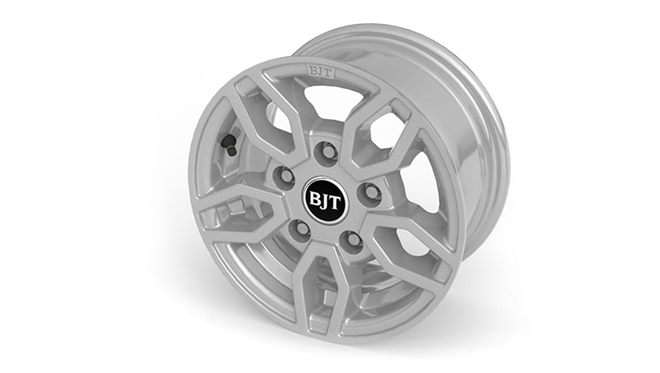 "Alloy wheels  – (12"" Style B2-Silver, 5.5J) + safety locking wheel bolts plus alloy spare wheel"