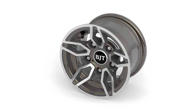 "Alloy wheels  – (10"" Style B2- Anthracite, diamond cut) + safety locking wheel bolts plus alloy spare wheel"