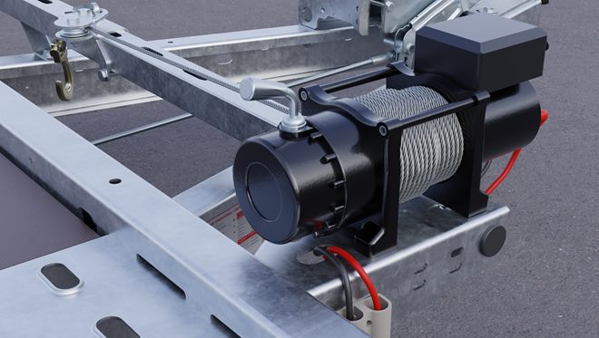 12v Electric operation winch, with steel wire cable, roller fairlead and remote control. Power pack available separately