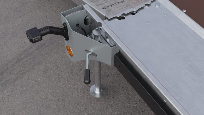 Rear support stands, side clamped drop down type