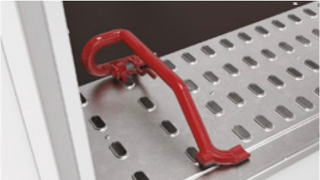 Wheel  chock, fully adjustable -quick release, engages in punched formed deck