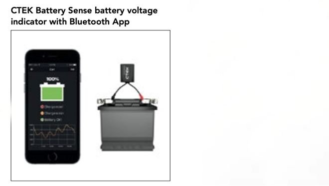 Battery indicator, bluetooth connected to a smart phone app
