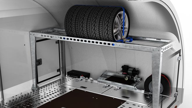 Tyre storage and transport rack. High level rack with securing system