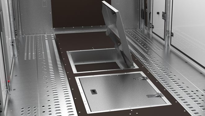 Centre bed locker aluminium lids, lift up with gas spring holders