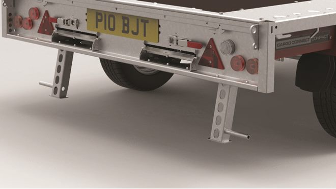 "Support stands, rear kick down operation, suitable for 12"" or larger wheel size trailers"