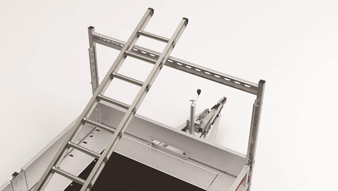Ladder rack, featuring a cross bar and removable posts