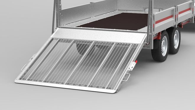 Full width, high tail ramp with spring assistance. Part steel mesh and aluminium surface