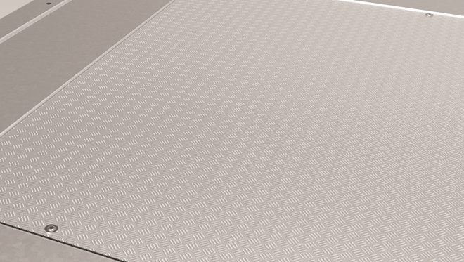 6.0m bed Alu Deck Overlay, 3-Bar Fine Checker. Protects the surface beneath from high impact loads