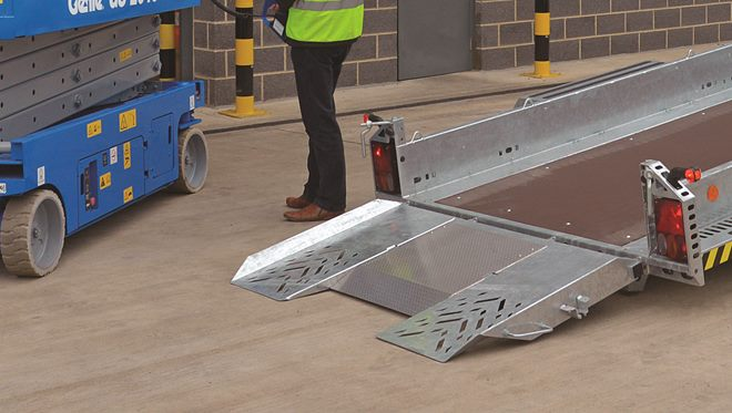 Loading ramp, one piece with spring lift assistance and twin 'knife edge' panels